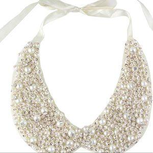 Tasha white beaded necklace collar for women/girls